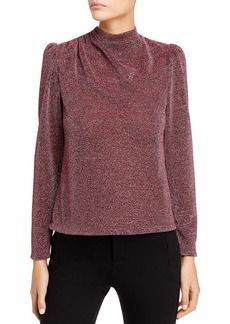 Rebecca Taylor Metallic Mock-Neck Top