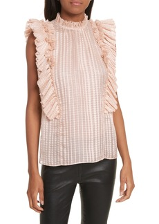 Rebecca Taylor Metallic Plaid Silk Ruffle Top