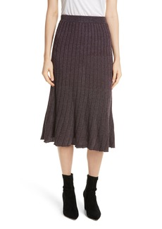 Rebecca Taylor Metallic Ribbed Knit Skirt