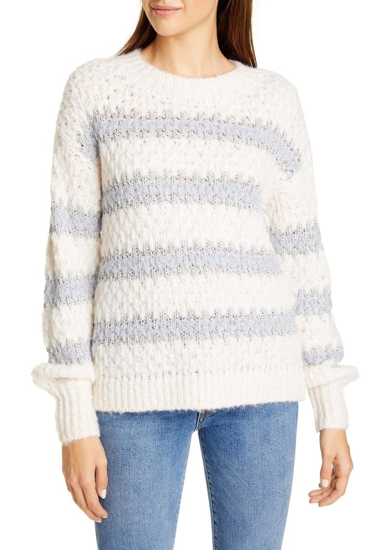 Rebecca Taylor Metallic Stripe Crewneck Sweater