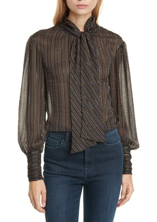 Rebecca Taylor Metallic Stripe Tie Neck Silk Blend Blouse