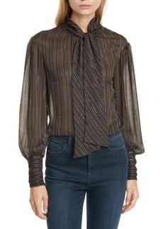 Rebecca Taylor Metallic Stripe Tie Neck Silk Blend Blouse