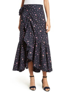 Rebecca Taylor Mia Print Poplin Wrap Skirt
