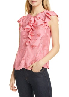 Rebecca Taylor Mimosa Floral Silk Blend Jacquard Blouse