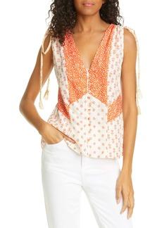 Rebecca Taylor Mix Print Sleeveless Silk Top
