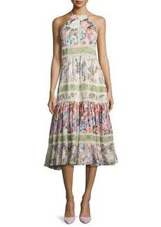 Rebecca Taylor Mixed Floral High-Neck Sleeveless Midi Dress