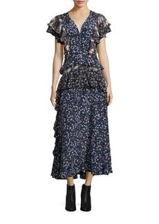 Rebecca Taylor Mixed Floral-Print Silk Maxi Dress