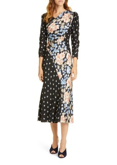 Rebecca Taylor Mixed Floral Silk Blend Midi Dress