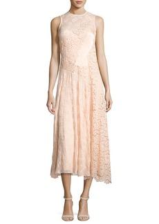 Rebecca Taylor Mixed-Lace Sleeveless Midi Dress