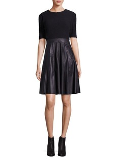 Rebecca Taylor Mixed Media Fit-&-Flare Dress
