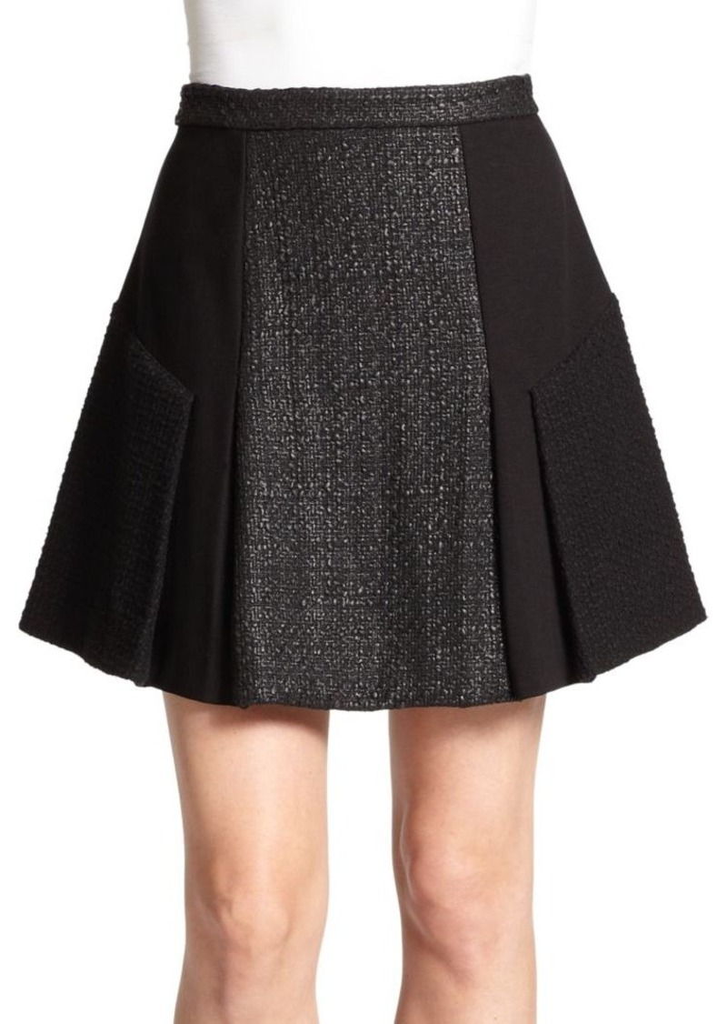 Rebecca Taylor Mixed-Media Pleated A-Line Skirt