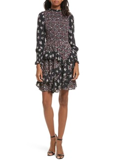 Rebecca Taylor Mixed Print A-Line Silk Dress
