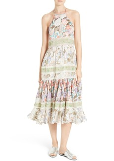 Rebecca Taylor Mixed Print Midi Dress