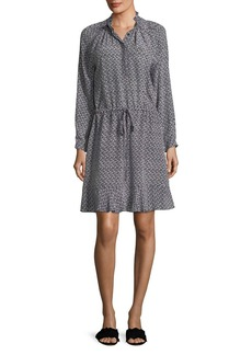 Rebecca Taylor Mock-Neck Long-Sleeve Printed Silk Dress