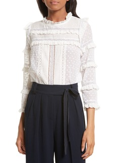 Rebecca Taylor Moon Dot Embroidered Dot Blouse