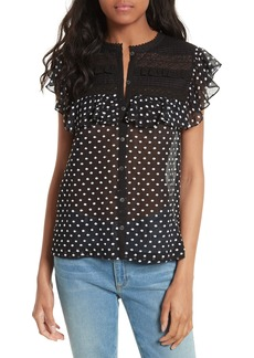 Rebecca Taylor Moon Dot Embroidered Top