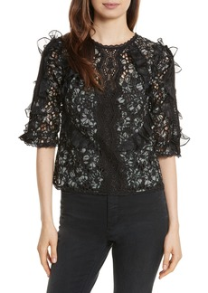 Rebecca Taylor Moonflower Silk Lace Top