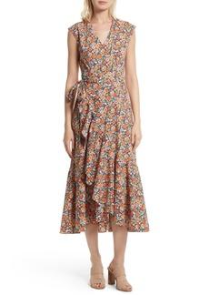 Rebecca Taylor Moonlight Print Poplin Ruffle Wrap Dress