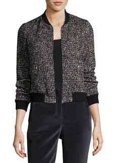 Rebecca Taylor Multi-Tweed Long-Sleeve Bomber Jacket