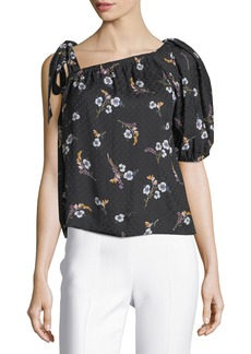 Rebecca Taylor Natalie Floral-Print One-Shoulder Top