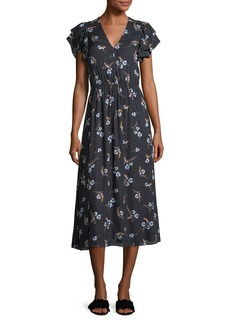Rebecca Taylor Natalie V-Neck Floral-Printed Midi Dress