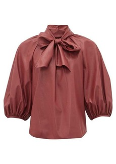 Rebecca Taylor Neck-tie faux-leather blouse