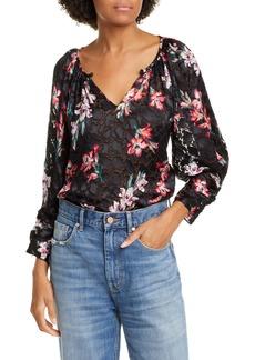 Rebecca Taylor Noha Floral Burnout Blouse