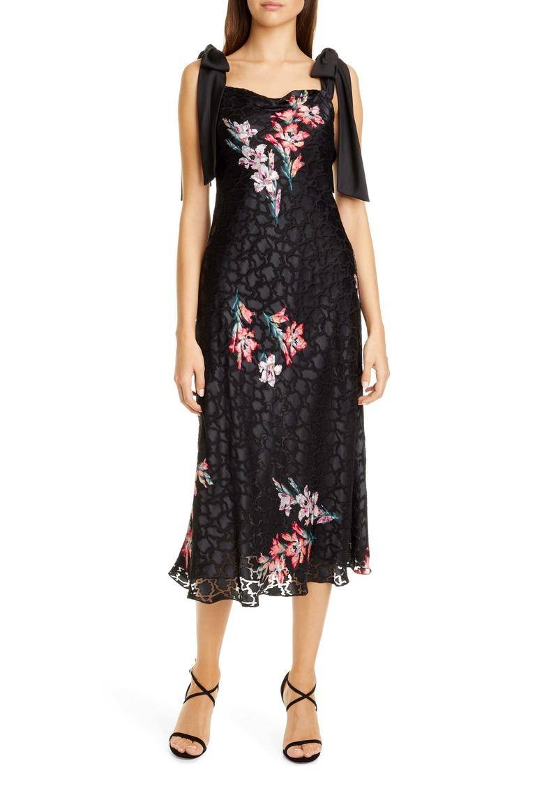 Rebecca Taylor Noha Floral Print Tie Shoulder Midi Dress
