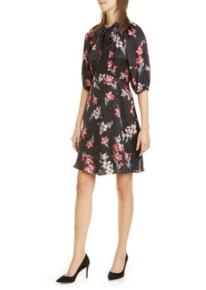 Rebecca Taylor Noha Floral Tie Neck Silk Blend Dress