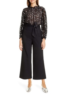 Rebecca Taylor Nuage Metallic Dot Mix Media Silk & Wool Blend Jumpsuit