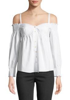 Rebecca Taylor Off-Shoulder Poplin Button-Front Top