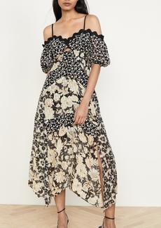 Rebecca Taylor Off Shoulder Print Mix Dress