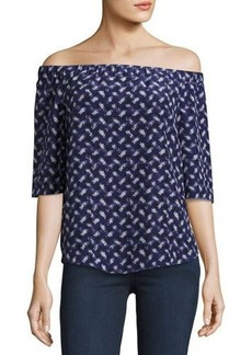 Rebecca Taylor Off-the-Shoulder Crisscross-Print Top