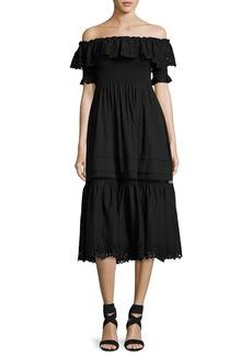 Rebecca Taylor Off-the-Shoulder Eyelet Midi Dress