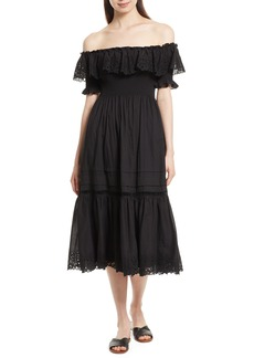 Rebecca Taylor Off the Shoulder Eyelet Midi Dress
