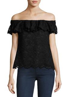Rebecca Taylor Off-the-Shoulder Floral Lace Top