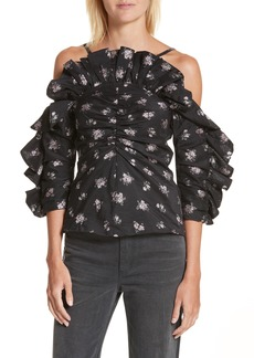Rebecca Taylor Off the Shoulder Floral Ruffle Top