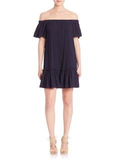 Rebecca Taylor Off-The-Shoulder Gauze Dress