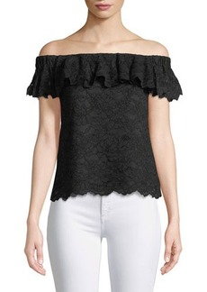 Rebecca Taylor Off-The-Shoulder Lace Top