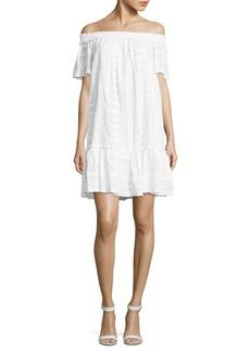 Rebecca Taylor Off-The-Shoulder Neckline Cotton Dress