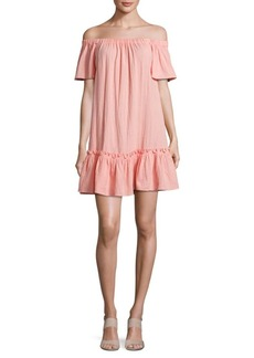 Rebecca Taylor Off-The-Shoulder Relaxed Dress