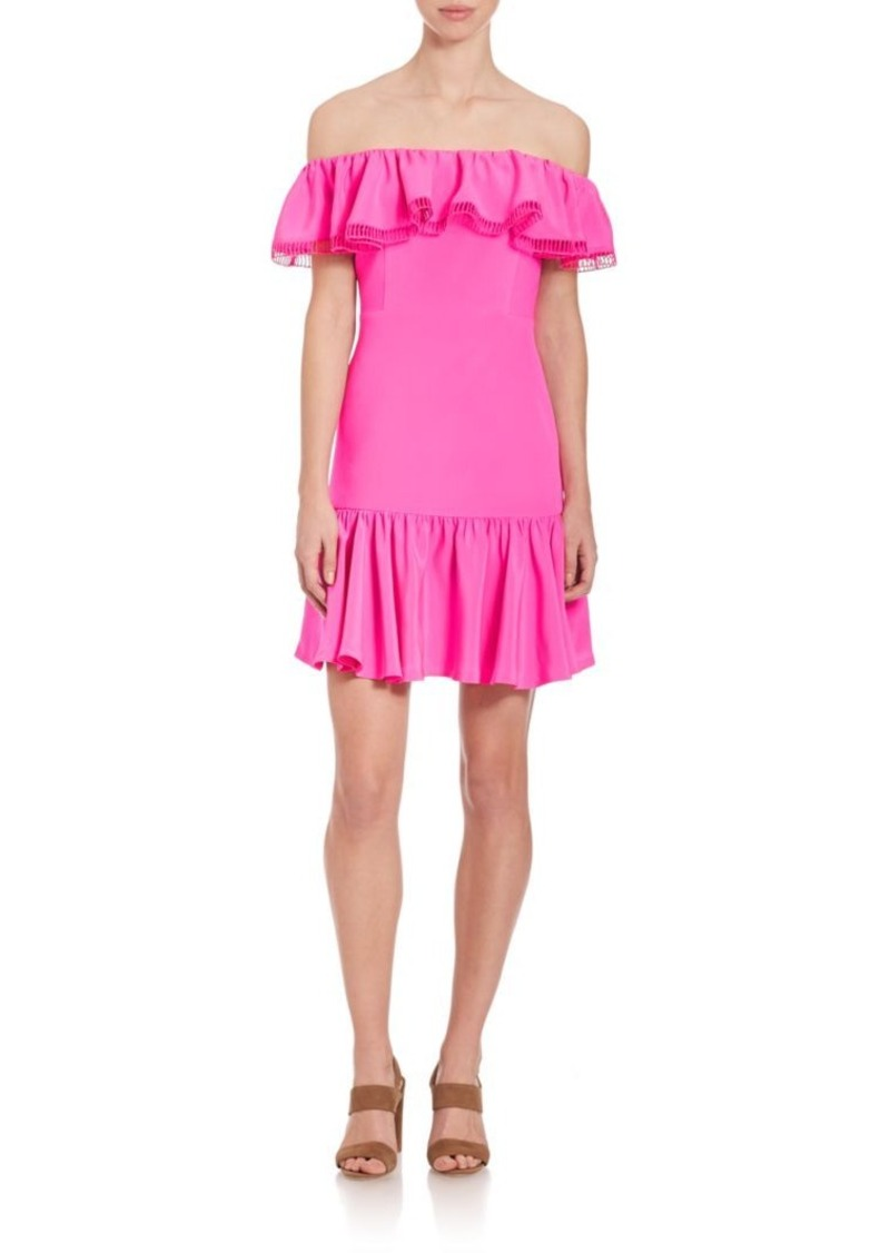 Rebecca Taylor Off-The-Shoulder Ruffled Dress