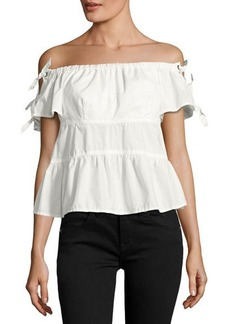 Rebecca Taylor Off-the-Shoulder  Sleeve-Tie Poplin Top