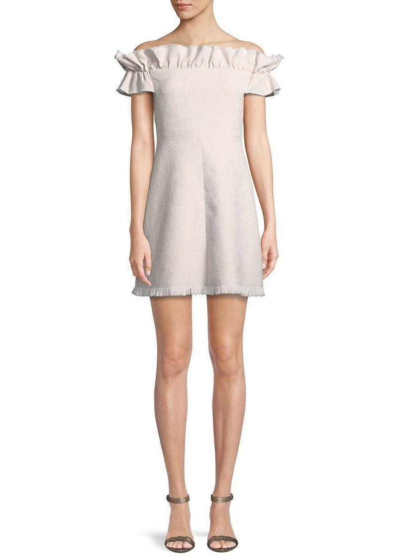 Rebecca Taylor Off-the-Shoulder Slub Suiting Dress