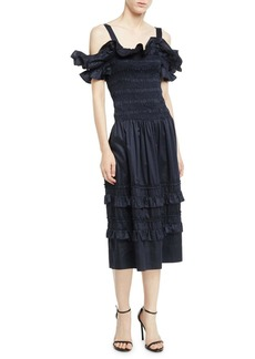 Rebecca Taylor Off-the-Shoulder Smocked Ruffle Dress