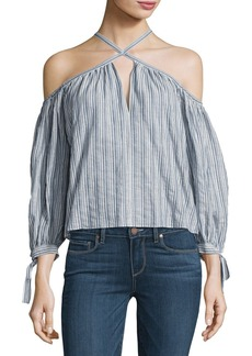 Rebecca Taylor Off-the-Shoulder Stripe Cotton Top