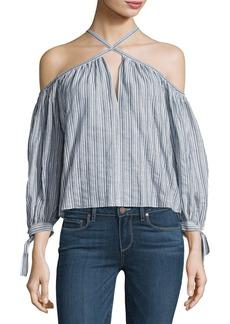 Rebecca Taylor Off-the-Shoulder Stripe Cotton Top
