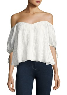 Rebecca Taylor Off-the-Shoulder Striped Blouse