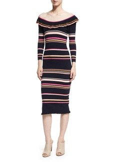 Rebecca Taylor Off-the-Shoulder Striped Rib Midi Dress