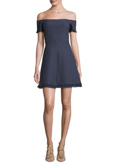 Rebecca Taylor Off-the-Shoulder Suiting Fit & Flare Dress